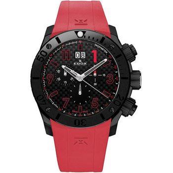 EDOX Class-1 Chronoffshore 大視窗陶瓷計時腕錶-黑x紅E10020.37N.NRO2
