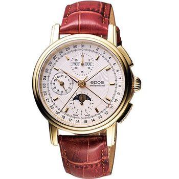 epos 完美月相盈虧計時機械腕錶-白x金框3393.238.22.10.27FB