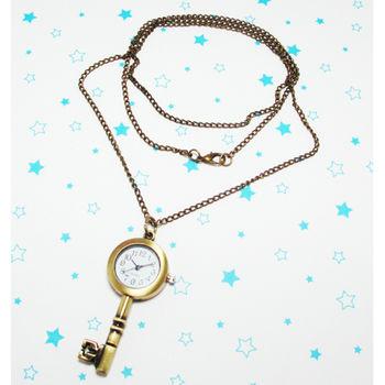復古鑰匙造型鎖扣項鍊二用錶
