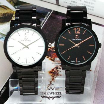 TIME WHEEL 大12數條刻度黑鋼腕錶