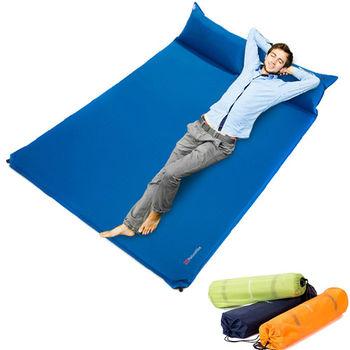 PUSH!登山戶外用品 雙人枕頭帶自動充氣墊睡墊防潮墊床墊加大版