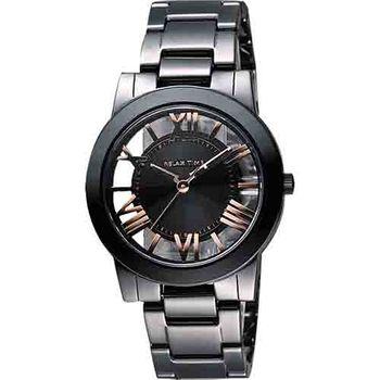 Relax Time 鏤空陶瓷腕錶-黑x玫塊金時標RT-53-12