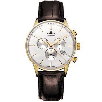 EDOX Les Vauberts 競速都會計時腕錶 E10408.37JA.AID