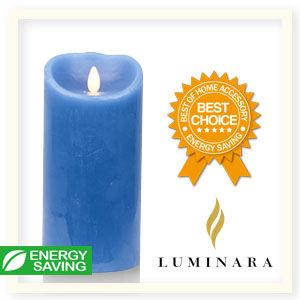 【Luminara 盧米娜拉 擬真火焰 蠟燭】 天空藍海洋香氛光滑蠟燭禮盒(大)