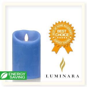 【Luminara 盧米娜拉 擬真火焰 蠟燭】天空藍海洋香氛光滑蠟燭禮盒(中)