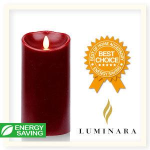 【Luminara 盧米娜拉 擬真火焰 蠟燭】 耶誕紅肉桂香氛光滑蠟燭禮盒(大)