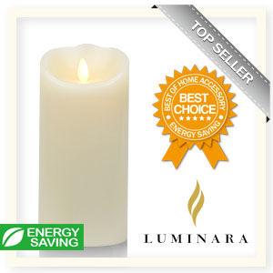 【Luminara 盧米娜拉 擬真火焰 蠟燭】 象牙白香草香氛光滑蠟燭禮盒(大)