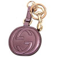GUCCI ^#45 G ^#45 logo皮革掛鉤鑰匙圈 ^#40 紫 ^#41