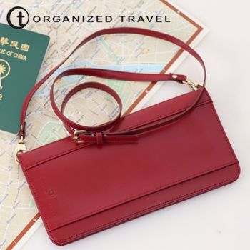 【OT 旅遊配件】肩背式護照包 (名媛紅)