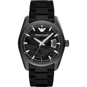 ARMANI Sport 軍式迷彩時尚腕錶-黑AR6052