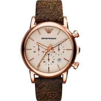 ARMANI Classic 經典風範計時腕錶-灰x玫塊金框AR1809