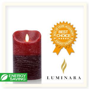 【Luminara 盧米娜拉 擬真火焰 蠟燭】 耶誕紅雙色漸層肉桂香氛水紋蠟燭禮盒(中)