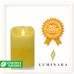【Luminara 盧米娜拉 擬真火焰 蠟燭】鵝黃雙色漸層香草香氛水紋蠟燭禮盒(中)