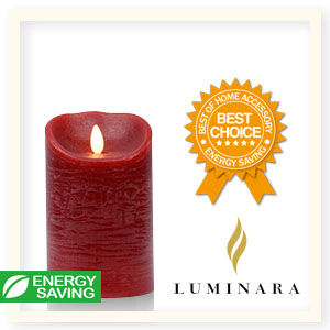 【Luminara 盧米娜拉 擬真火焰 蠟燭】耶誕紅肉桂香氛水紋蠟燭禮盒(中)