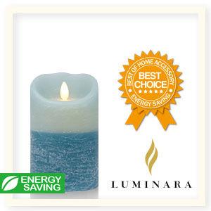 【Luminara 盧米娜拉 擬真火焰 蠟燭】地中海藍雙色漸層海洋香氛水紋蠟燭禮盒(中)