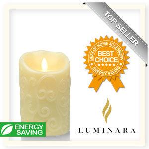 【Luminara 盧米娜拉 擬真火焰 蠟燭】 象牙白香草香氛浮雕蠟燭禮盒(中)
