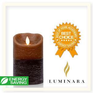 【Luminara 盧米娜拉 擬真火焰 蠟燭】 咖啡雙色漸層香草香氛水紋蠟燭禮盒(中)