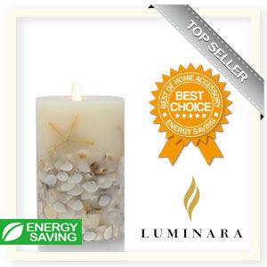 【Luminara 盧米娜拉 擬真火焰 蠟燭】 貝殼海星象牙白香草香氛蠟燭禮盒(大)