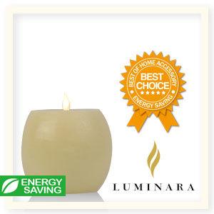【Luminara 盧米娜拉 擬真火焰 蠟燭】 酒桶象牙白光滑蠟燭禮盒(大)