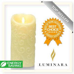 【Luminara 盧米娜拉 擬真火焰 蠟燭】象牙白香草香氛浮雕蠟燭禮盒(大)