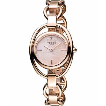 VOGUE Tornabuoni 馬銜鍊手鍊錶-天然珍珠貝x玫塊金2V1407-141RG-M