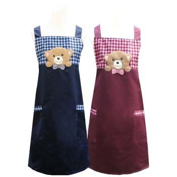 【好奇熊】口袋圍裙CC526(藍紅二入組)