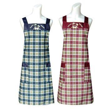 【甜蜜熊】兩口袋圍裙C558 (藍紅二入組)