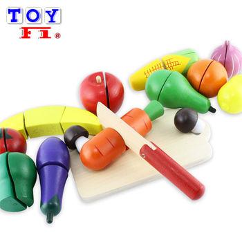 【Toy F1】木製彩色水果蔬菜切切樂