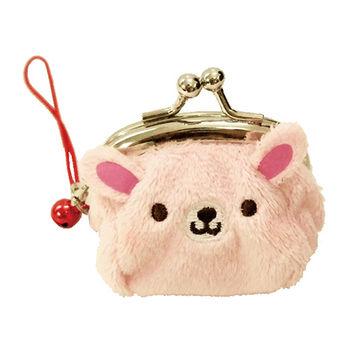 【UNIQUE】動物樂園迷你珠扣零錢包 粉紅兔