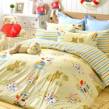 【義大利Fancy Belle】奇馬趣 防蹣抗菌加大四件式舖棉兩用被床包組