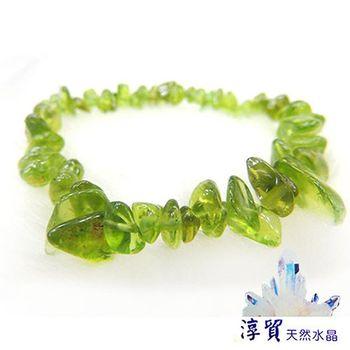 【淳貿天然水晶】 橄欖石滾石手珠