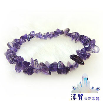 【淳貿天然水晶】 紫水晶滾石手珠
