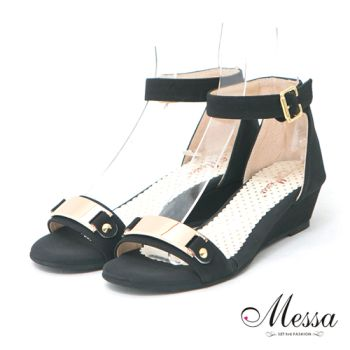 【Messa米莎】(MIT)風華時尚金屬內真皮楔型涼鞋-黑色