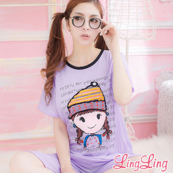 lingling日系 全尺碼-辮子娃娃圓領T二件式睡衣組(活潑淺紫)A139-5