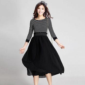 【Jisen】條紋拼接雪紡長裙洋裝