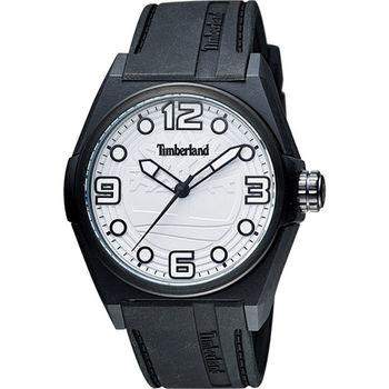 Timberland Radler 中性時尚腕錶-白x黑色錶帶TBL.13328JPB/01A
