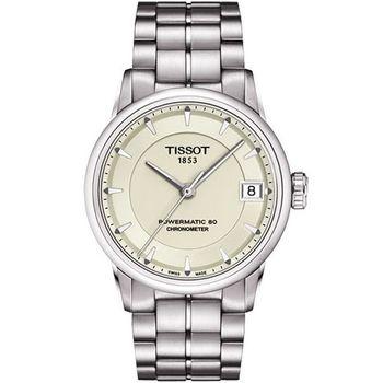 TISSOT T-Classic Luxury 天文台認證機械腕錶-象牙白 T0862081126100