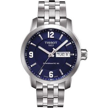 TISSOT PRC200 Powermatic 80 時尚機械腕錶-藍T0554301104700