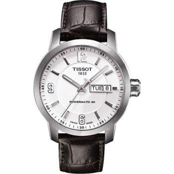 TISSOT PRC200 Powermatic 80 時尚機械腕錶-銀x咖啡T0554301601700