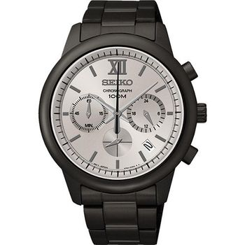 SEIKO 尊爵羅馬三眼計時腕錶6T63-00N0SD