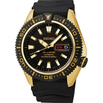SEIKO Mechanical 怒海潛將200米限量機械腕錶-黑x金4R36-02Z0K