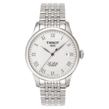 TISSOT Le Locle 力洛克系列 圖騰紋機械錶-白(T41148333)