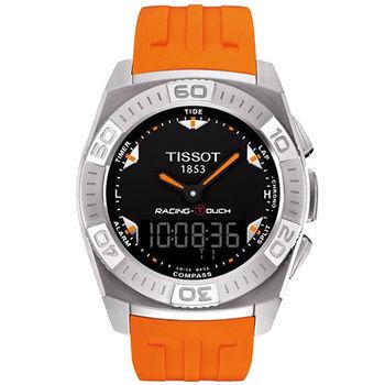 TISSOT Racing Touch 多功能觸控腕錶-黑/橘橡膠錶帶T0025201705101