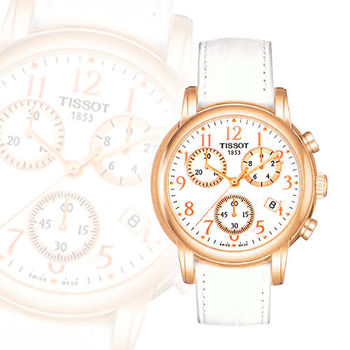 TISSOT Dressport 三眼計時腕錶-玫瑰金(T0502173611200)