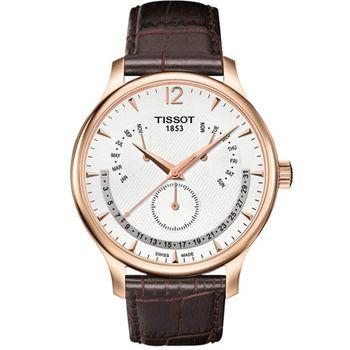 TISSOT Tradition 逆跳復刻經典腕錶-白(T0636373603700)