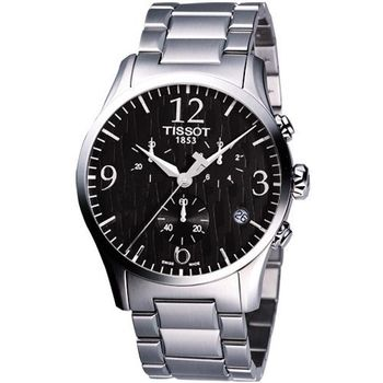 TISSOT Stylis-T 圖騰三眼計時大錶徑腕錶 (黑) T0284171105700