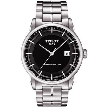TISSOT T-Classic Luxury 機械腕錶-黑 T0864071105100