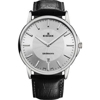 EDOX Les Bemonts 薄曼系列石英腕錶-銀E56001.3.AIN