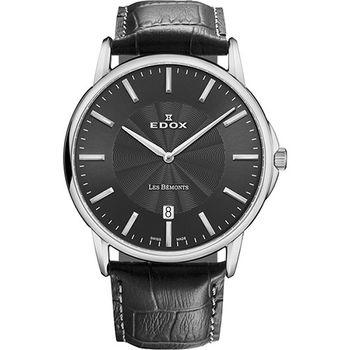 EDOX Les Bemonts 薄曼系列石英腕錶-黑E56001.3.GIN
