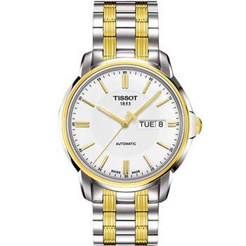 TISSOT Automatic III 時尚機械腕錶-白x半金(T0654302203100)